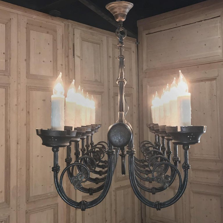 Grand Antique Iron Chandelier In Good Condition For Sale In Dallas, TX