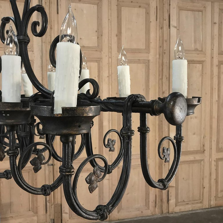 20th Century Grand Antique Iron Chandelier For Sale