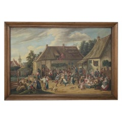 Grand Antique Painting after David Teniers the Younger by Jan Op De Beeck