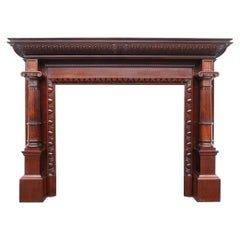 Grand Antique Pillared Victorian Mahogany Fireplace Mantle