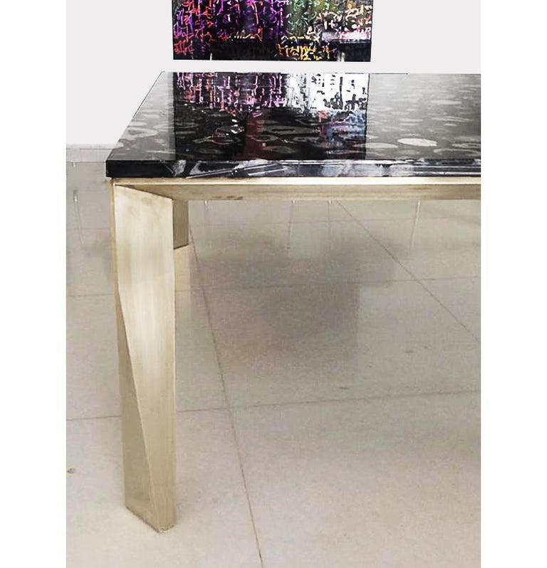 Modern 'Grand Architectonic' Black Agate Gemstone Desk / Dining Table with Brass Feet For Sale