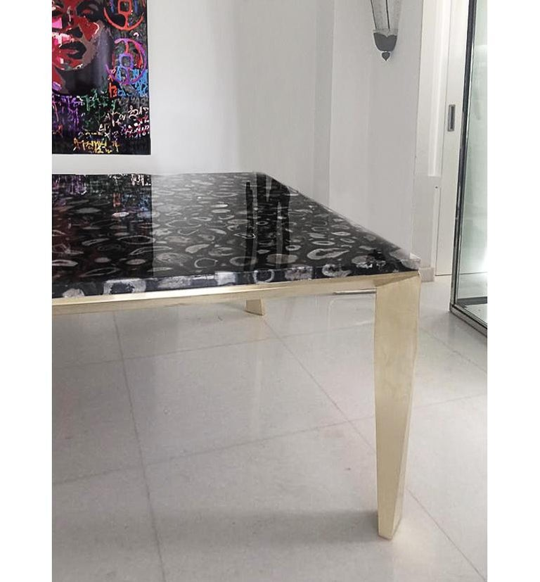 Faceted 'Grand Architectonic' Black Agate Gemstone Desk / Dining Table with Brass Feet For Sale