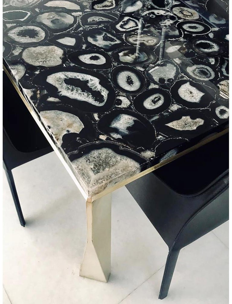 Contemporary 'Grand Architectonic' Black Agate Gemstone Desk / Dining Table with Brass Feet For Sale