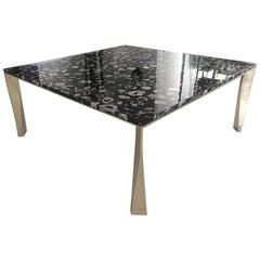 'Grand Architectonic' Black Agate Gemstone Desk / Dining Table with Brass Feet