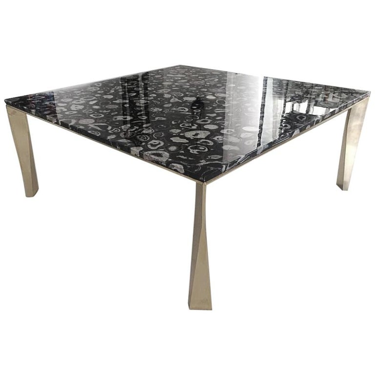 'Grand Architectonic' Black Agate Gemstone Desk / Dining Table with Brass Feet For Sale