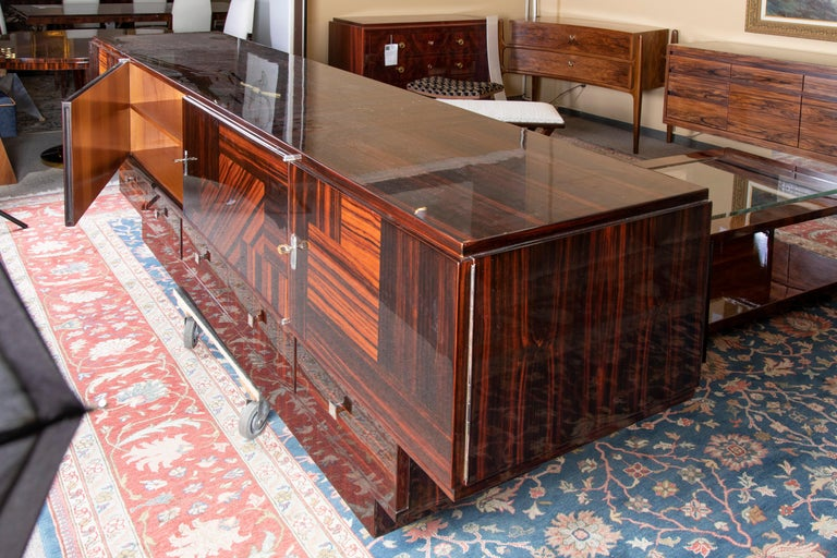 Grand Art Deco French Sideboard in Macassar Wood In Excellent Condition In Houston, TX