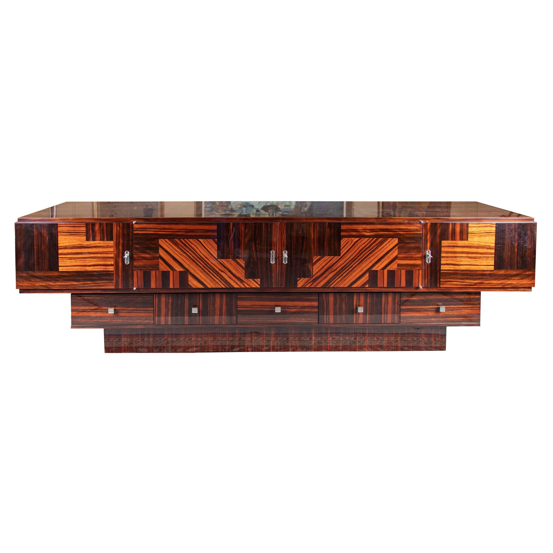 Grand Art Deco French Sideboard in Macassar Wood
