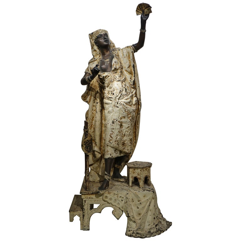 Grand Babbit Metal Statue Representing an Egyptian Woman, England, 19th Century For Sale