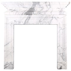 Grand Baroque Bolection Chimneypiece Cushion-Shelf Italian White Statuary Marble