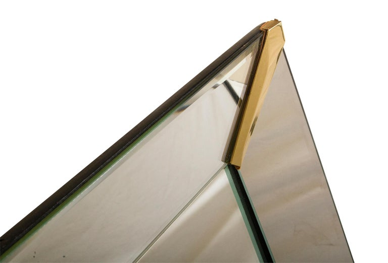American Grand Beveled Mirror with Brass Accents, Mid-Century Modern For Sale