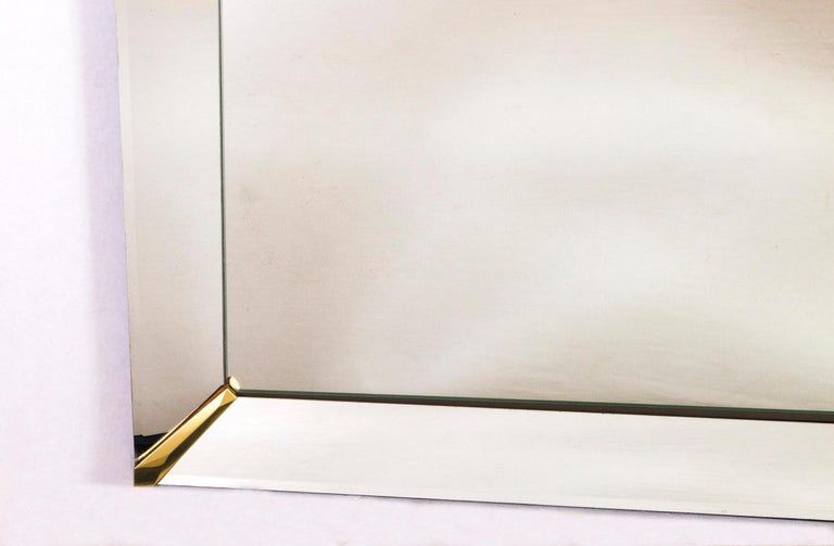Grand Beveled Mirror with Brass Accents, Mid-Century Modern In Good Condition For Sale In Wilton, CT