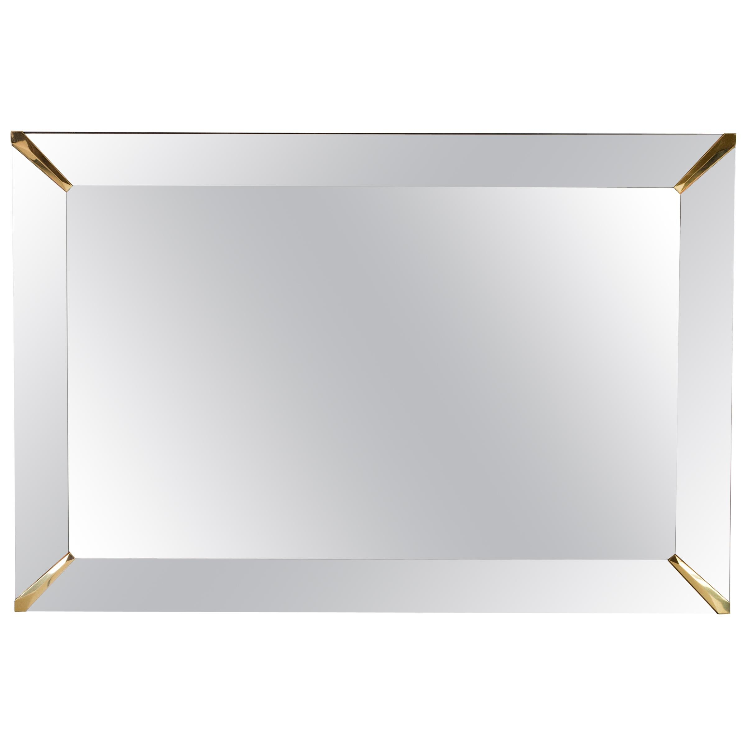 Grand Beveled Mirror with Brass Accents, Mid-Century Modern