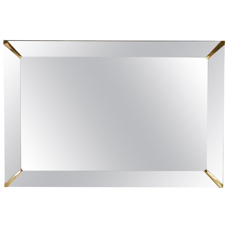 Grand Beveled Mirror with Brass Accents, Mid-Century Modern For Sale