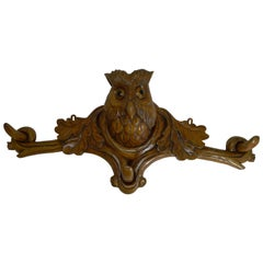 Grand Black Forest Hat Stand - Owl with Glass Eyes, circa 1890