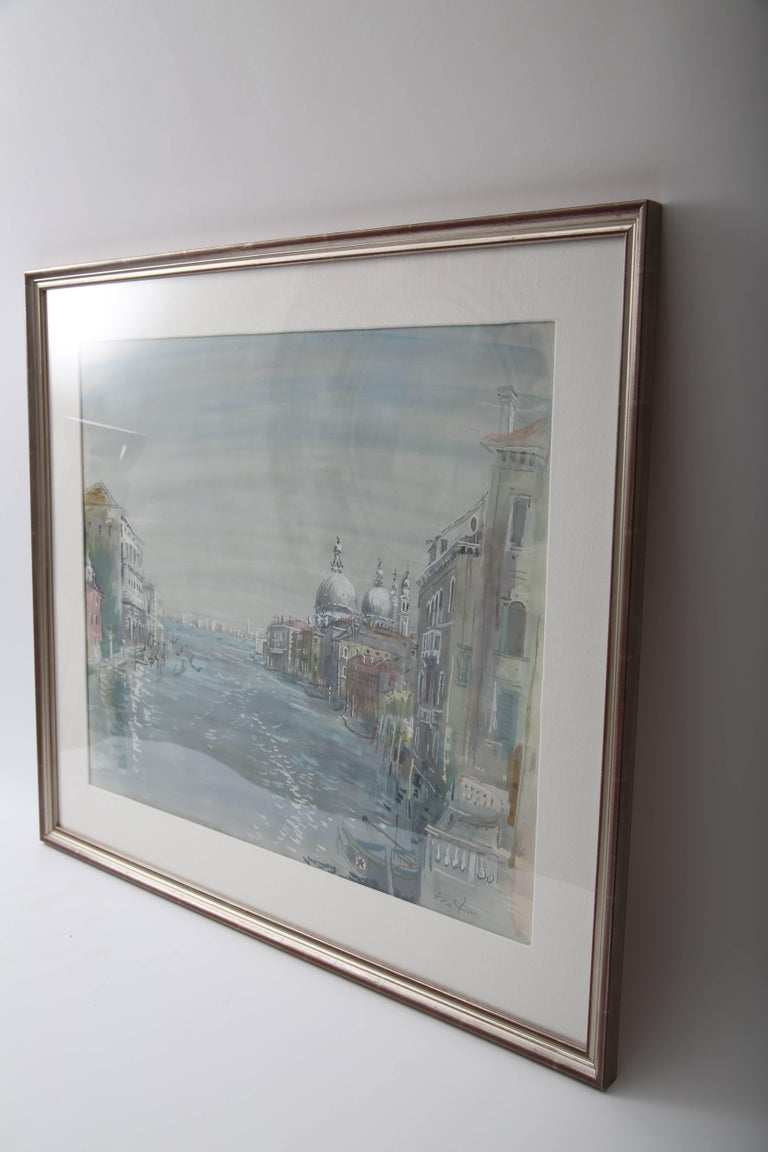 This stylish and beautiful watercolor of the Grand Canal of Venice was painted by Cecil Beaton and dates to the 1920s. The piece was acquired from a Palm Beach estate.