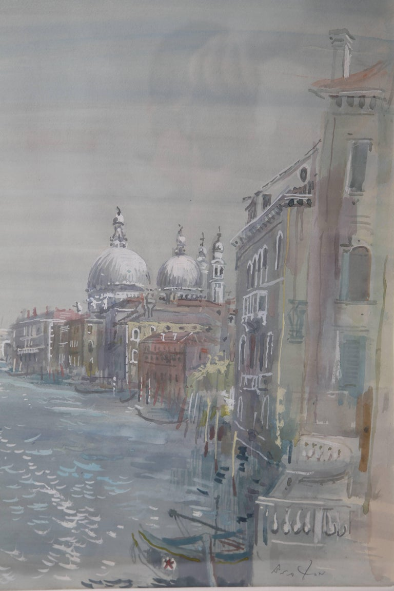 Romantic Grand Canal of Venice Watercolor For Sale