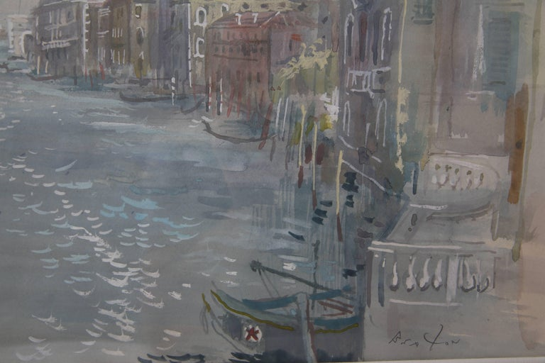 Grand Canal of Venice Watercolor In Good Condition For Sale In West Palm Beach, FL