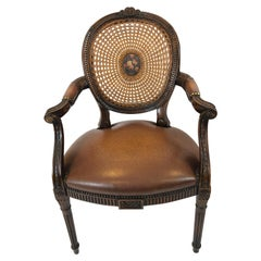 Grand Caned Cameo Back Armchair with Leather Seat by Theodore Alexander
