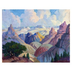 Grand Canyon Modernist Painting by Leslie Lounsbury, circa 1940s