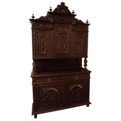 Grand Carved Oak Breton Buffet Cabinet Sideboard, circa 1890