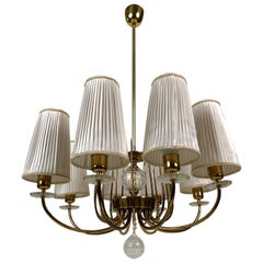 Grand Chandelier from J. L. Lobmeyr in Brass, Crystal and Silk Shades
