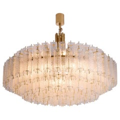 Grand Chandelier in Brass and Structured Glass