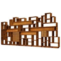 Grand Custom-Made Modular Wall Unit in Teak, Mahogany and Brass