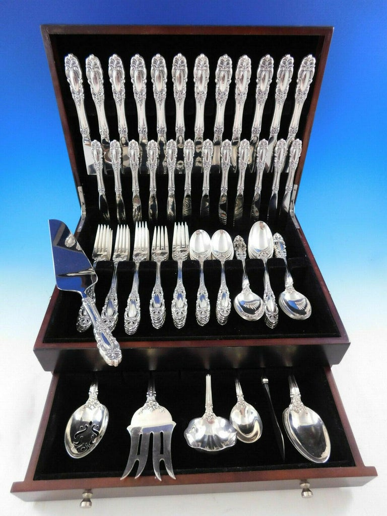 Grand duchess by Towle sterling silver flatware set, 79 pieces. This set includes:  12 knives, 9 1/4