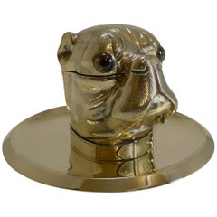 Grand English Bulldog Novelty Inkwell with Glass Eyes, circa 1880