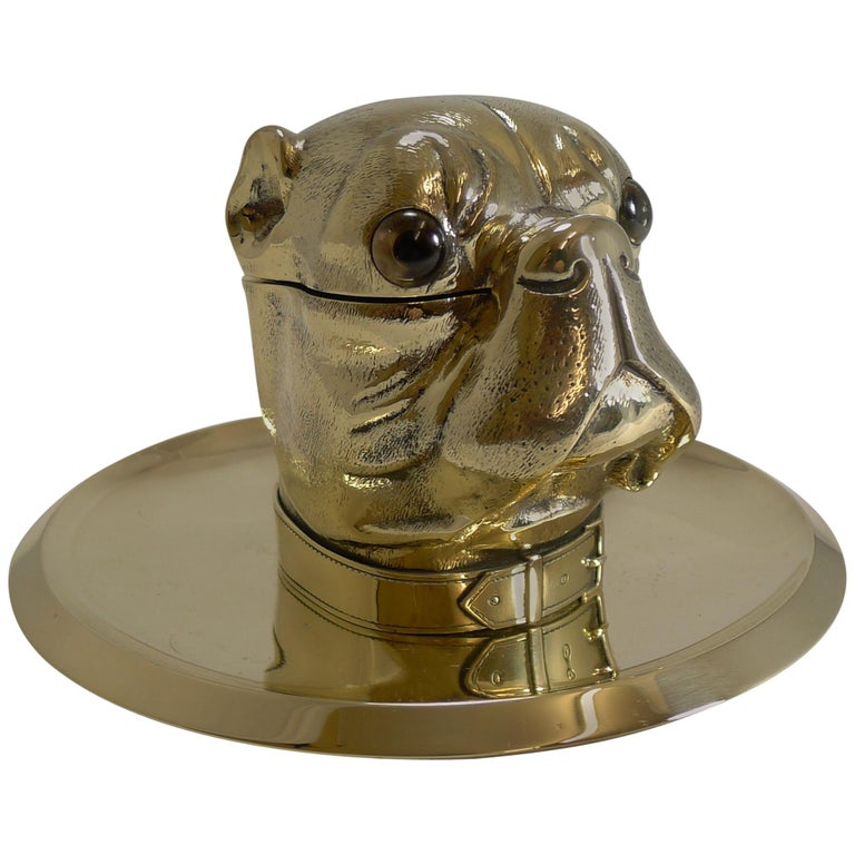 Grand English Bulldog Novelty Inkwell with Glass Eyes, circa 1880 For Sale