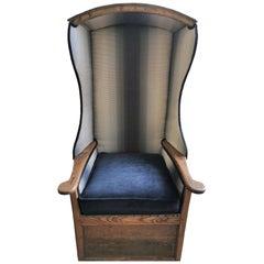 Grand English Oak Porters Canopy Chair, Mid-19th Century