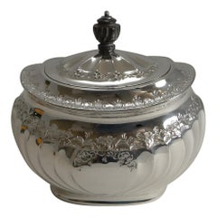 Grand English Silver Plated Tea Caddy by Atkin Brothers, Reg. 1889