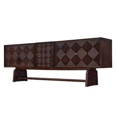 Grand European Sideboard in Stained Wood with Carved Doors