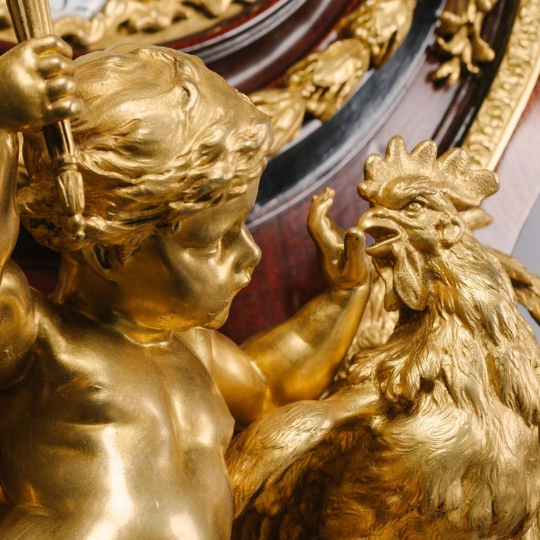 French Grand Figural Cartel Clock after Gilles-Marie Oppenord For Sale