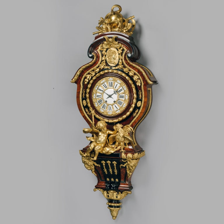Bronze Grand Figural Cartel Clock after Gilles-Marie Oppenord For Sale