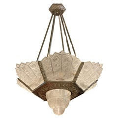 Grand French Art Deco Chandelier by Hettier Vincent