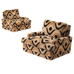 Grand French Pair of Lounge Chairs in Patterned Fabric