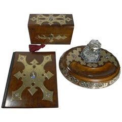 Grand French Three-Piece Desk Set, Hand Painted Porcelain Inset, circa 1860