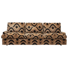 Grand French Three-Seat Sofa in Patterned Fabric