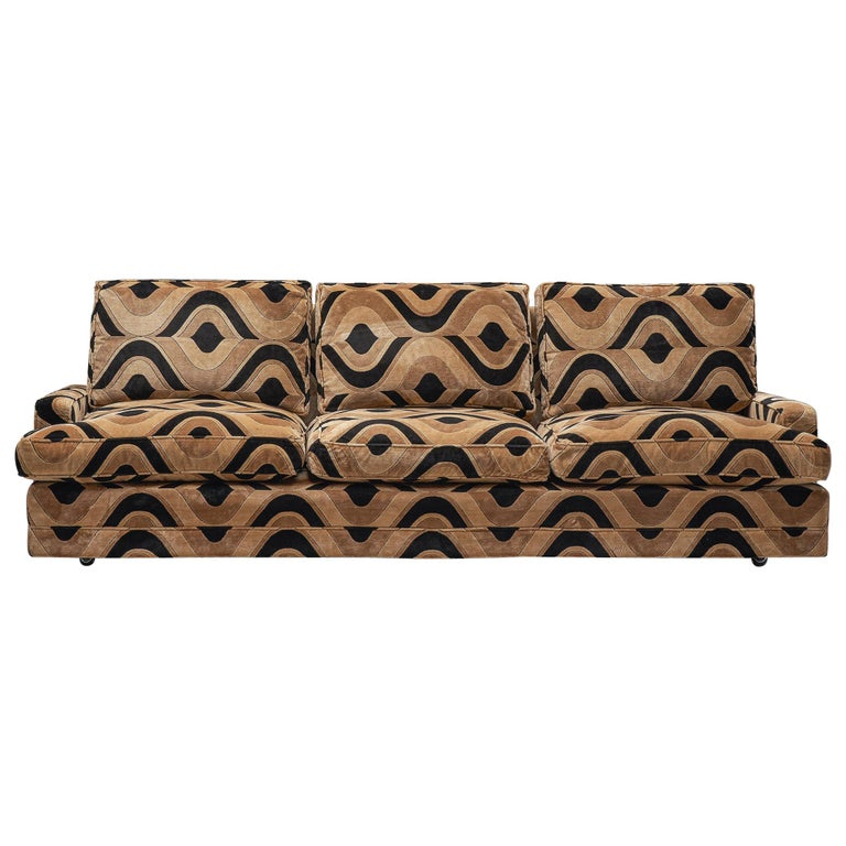 Grand French Three-Seat Sofa in Patterned Fabric For Sale at ...