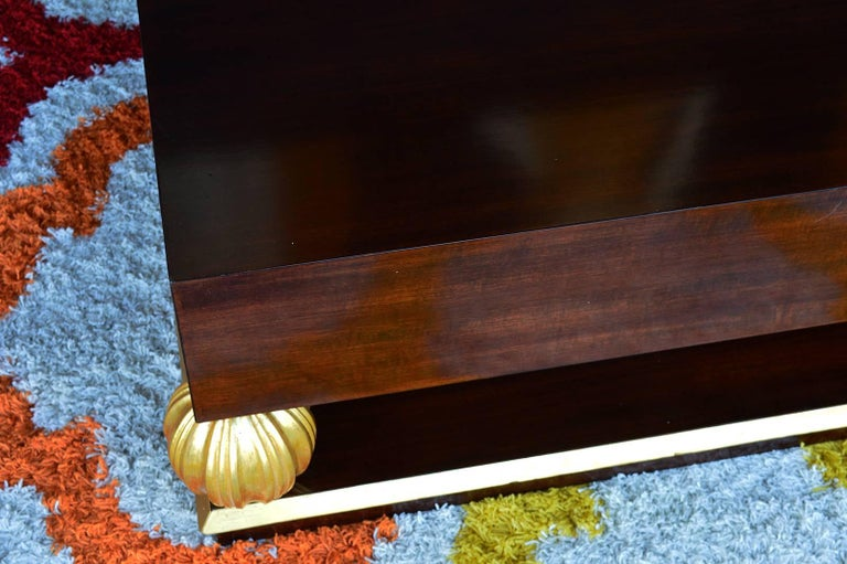 Large sized hand-carved walnut wood coffee table.