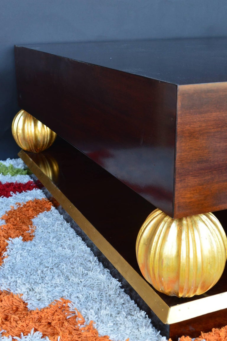 Neoclassical Grand Gilt Walnut Coffee Table For Sale
