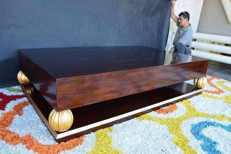 American Grand Gilt Walnut Coffee Table For Sale
