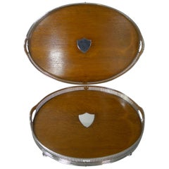 Grand Graduated Pair of Late Victorian Oak and Silver Plate Serving Trays