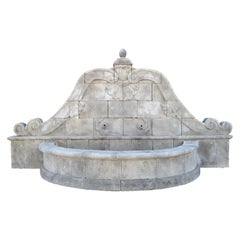 Grand Hand Carved Limestone Wall Fountain from Southern Italy