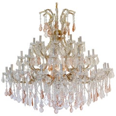 Grand Hollywood Regency Pink and Clear Crystal Chandelier, Italian Midcentury