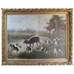 Grand Hunting Painting Oil on Canvas Set in Gilt Frame