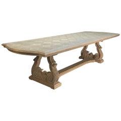 Grand Italian Baroque Style Parquet Stripped Oak Banquet Table
