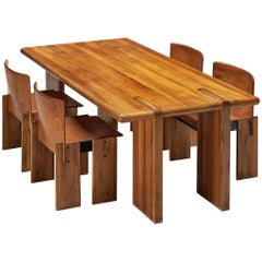Grand Italian Dining Table in Walnut with Dining Chairs in Cognac Leather