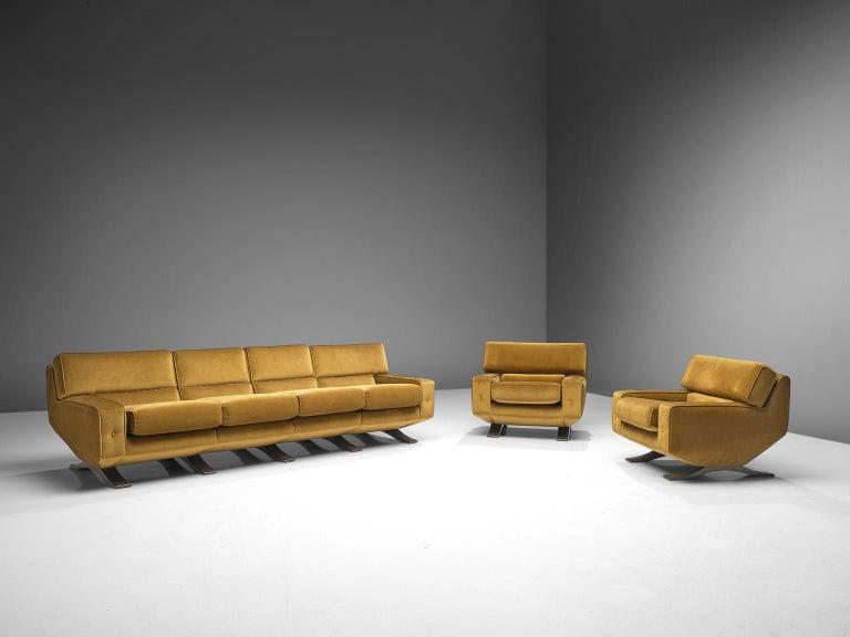 Grand Living Room Set in Mustard Classic Green Velvet by Franz T. Sartori